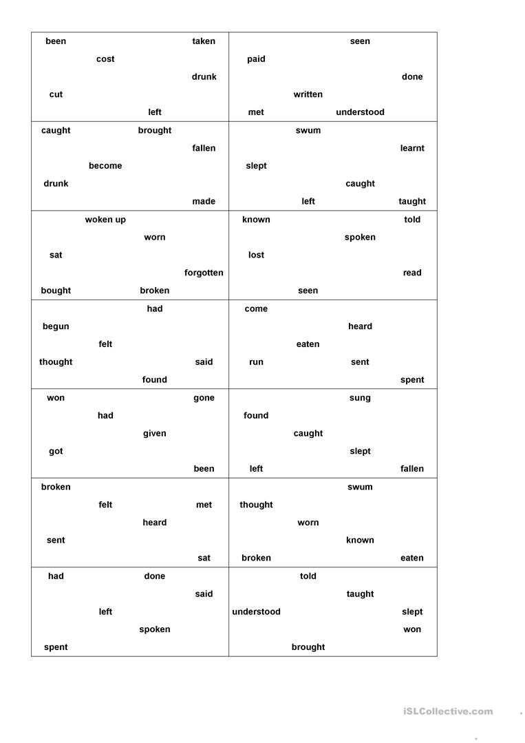 Irregular Verbs Worksheet Pdf Bingo Game Past Partciple Irregular Verbs English Esl