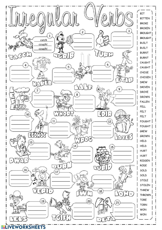 Irregular Verbs Worksheet Pdf Irregular Verbs Online Exercise and Pdf by Victor
