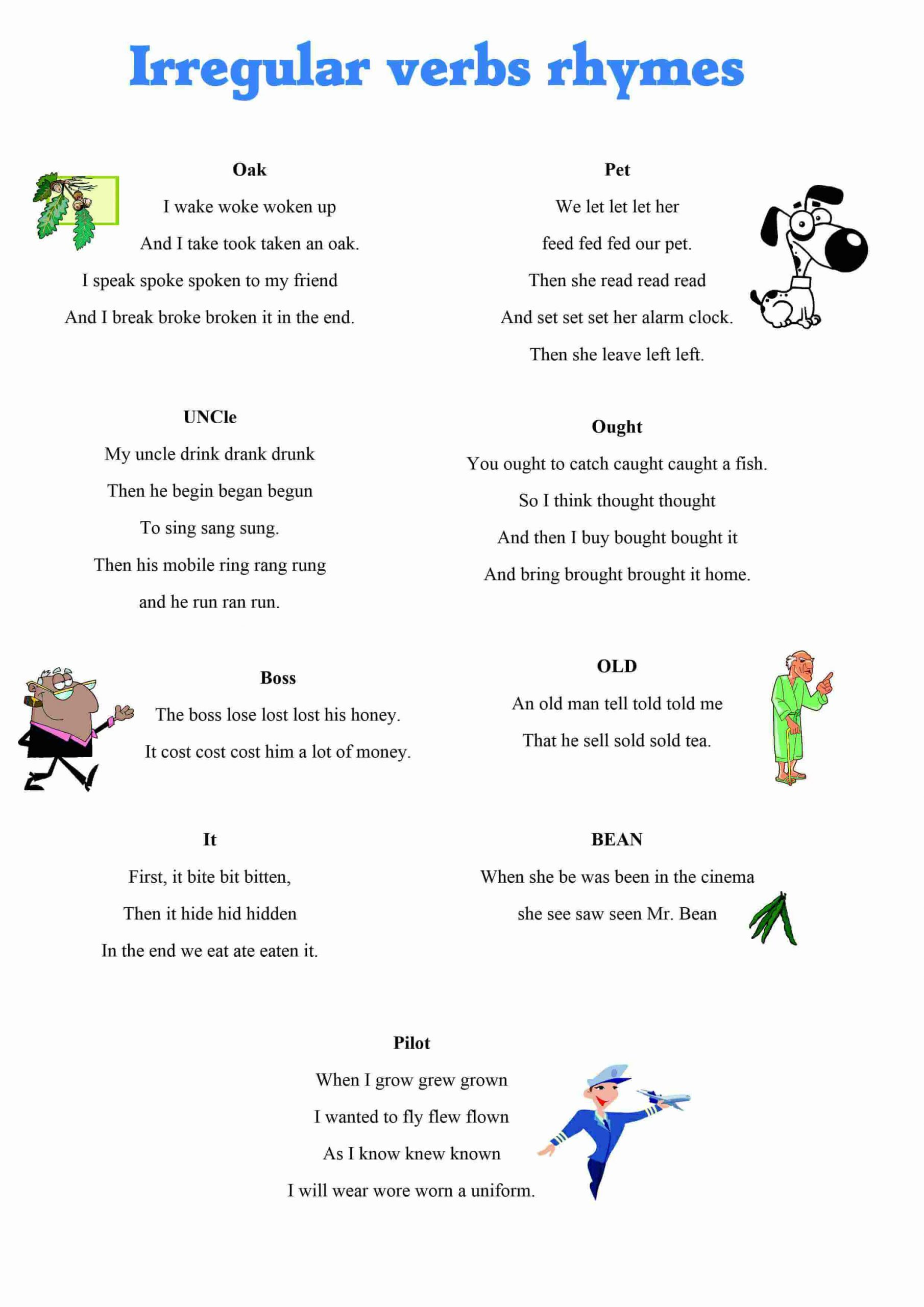 Irregular Verbs Worksheet Pdf Irregular Verbs Rhymes Games to Learn English