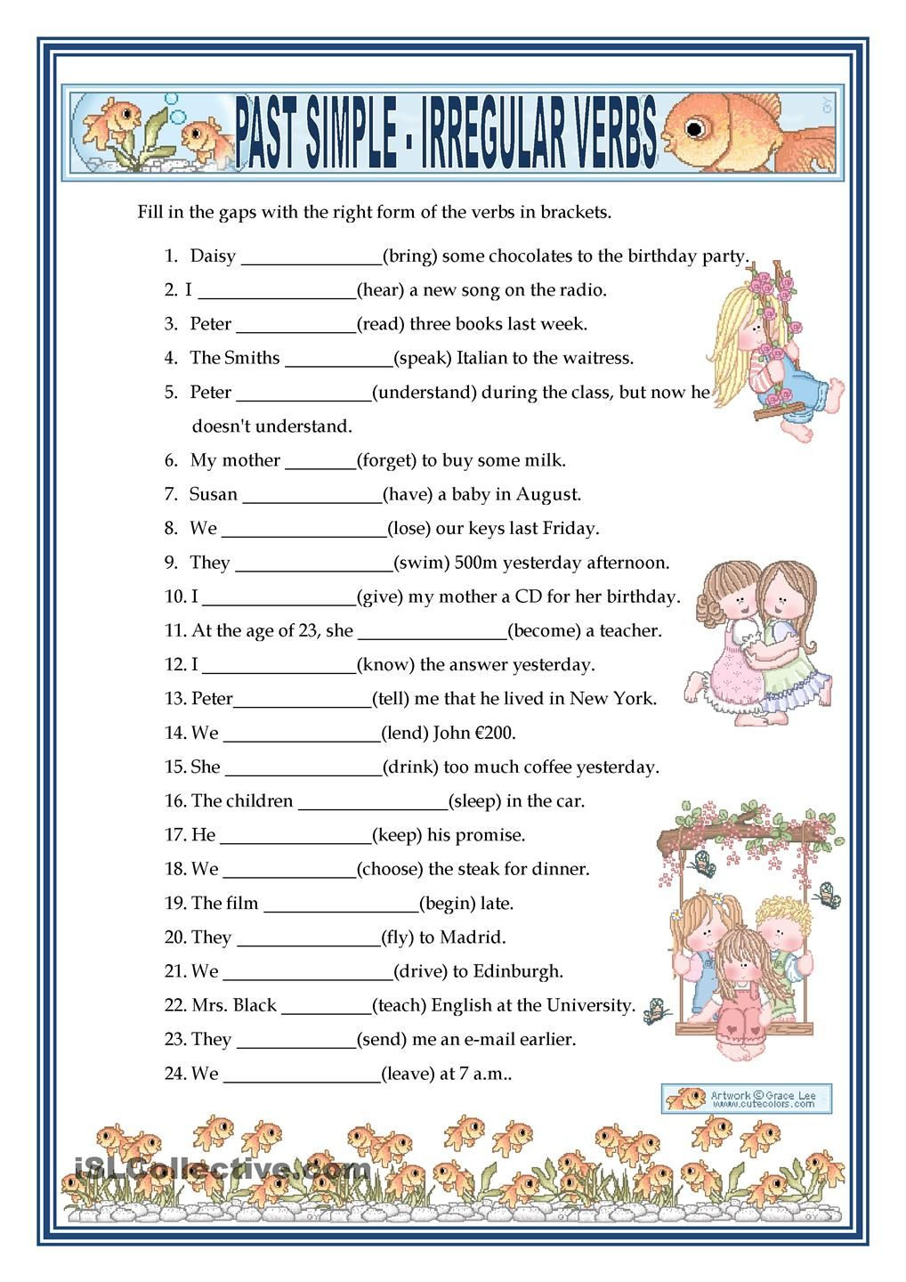 Irregular Verbs Worksheet Pdf Past Simple Irregular Verbs