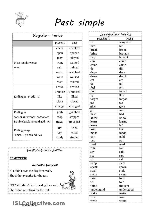 Irregular Verbs Worksheet Pdf Past Simple Regular and Irregular Verbs