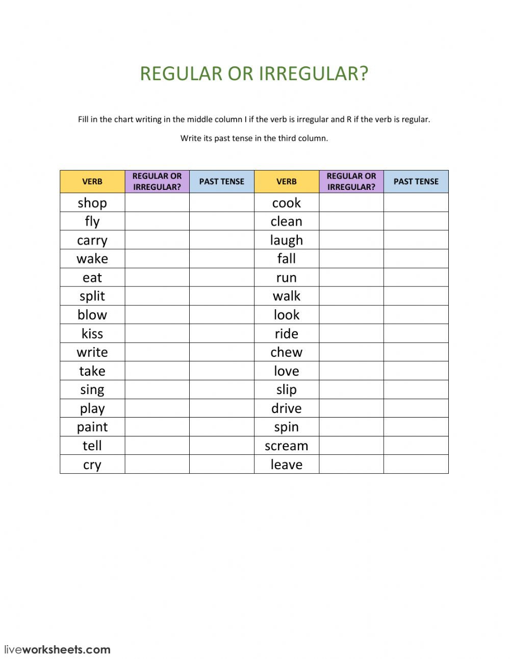 Irregular Verbs Worksheet Pdf Regular or Irregular Verbs Interactive Worksheet