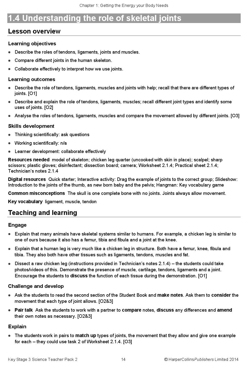 Joints and Movement Worksheet Key Stage Three Science Teacher Pack 2 by Collins issuu