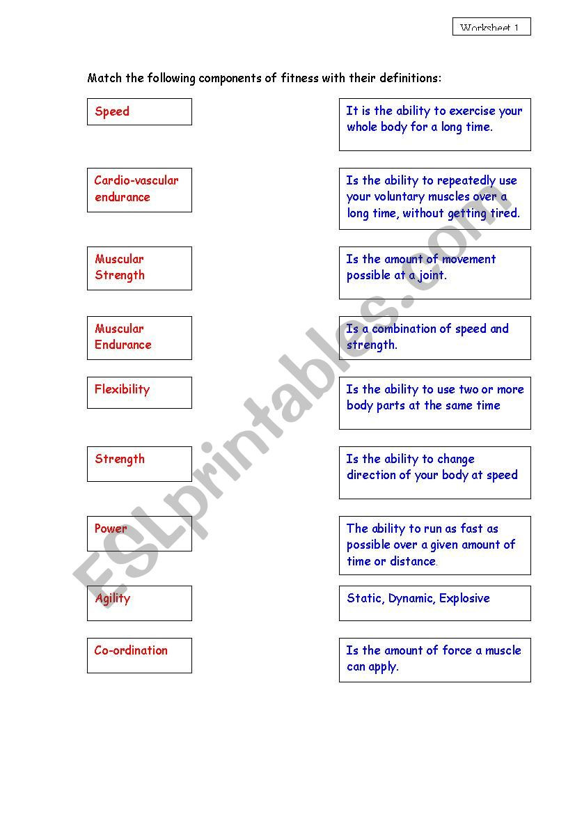 Joints and Movement Worksheet Ponents Of Fitness Esl Worksheet by Kirsty Hug
