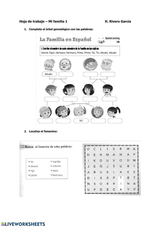 La Familia Worksheet In Spanish A1a2 Mi Familia 01 Interactive Worksheet