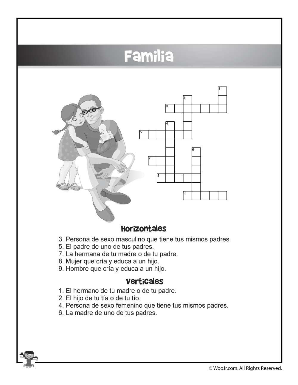 La Familia Worksheet In Spanish Familia Spanish Crossword Puzzle