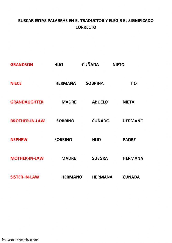 La Familia Worksheet In Spanish Family La Familia Online Worksheet