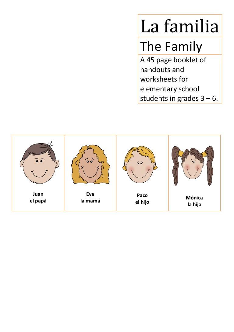 La Familia Worksheet In Spanish La Familia Spanish Elementary School the Family