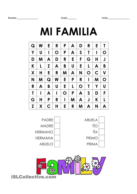 La Familia Worksheet In Spanish La Familia Spanish Worksheet