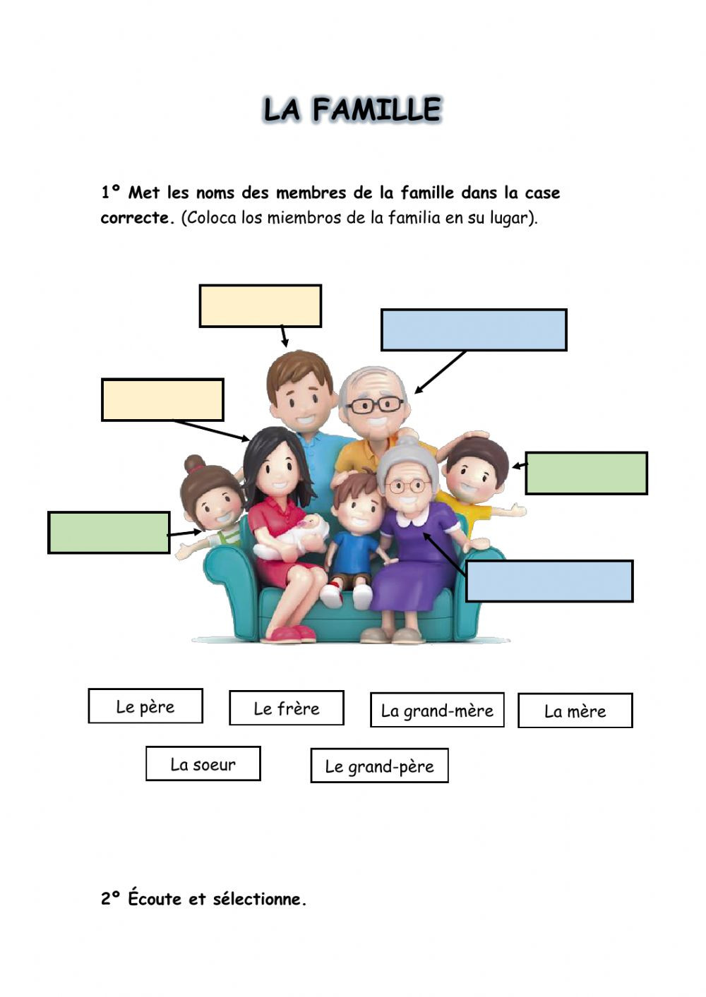 La Familia Worksheet In Spanish La Famille Interactive Worksheet