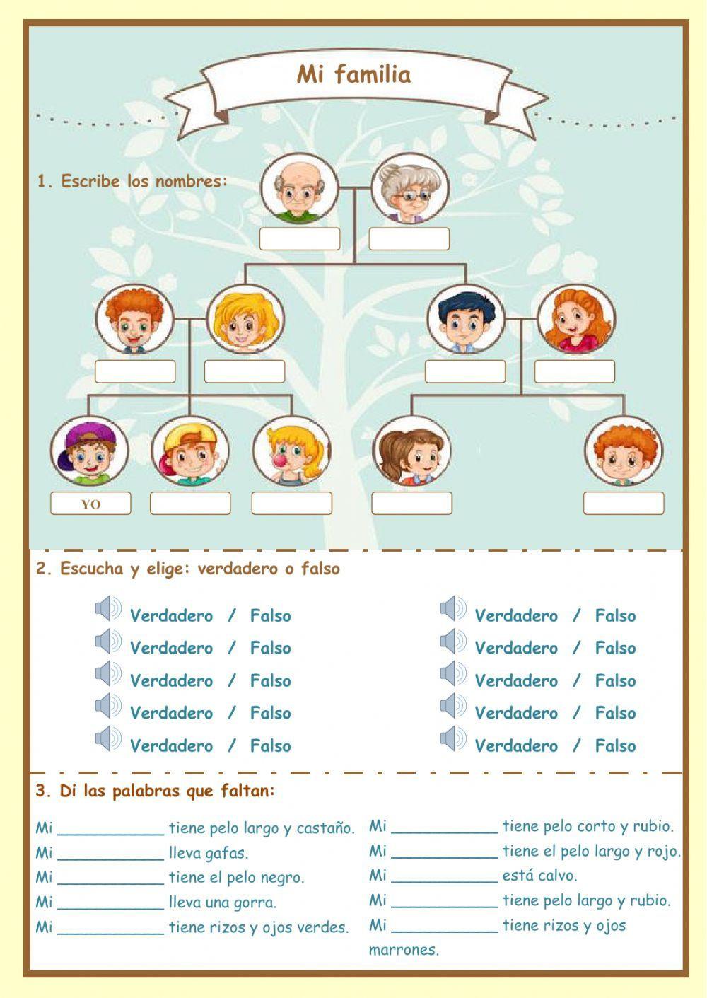 La Familia Worksheet In Spanish Los Miembros De La Familia Interactive and Able