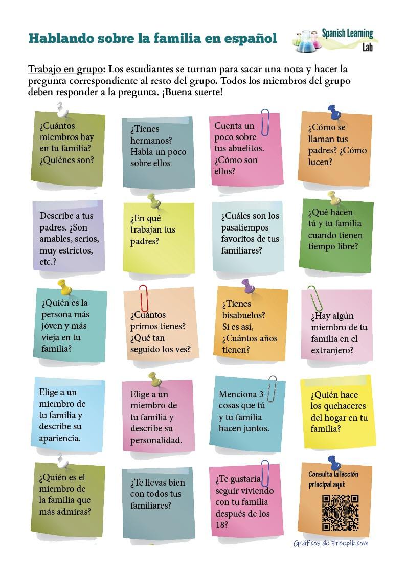La Familia Worksheet In Spanish Questions About the Family In Spanish Pdf Worksheet
