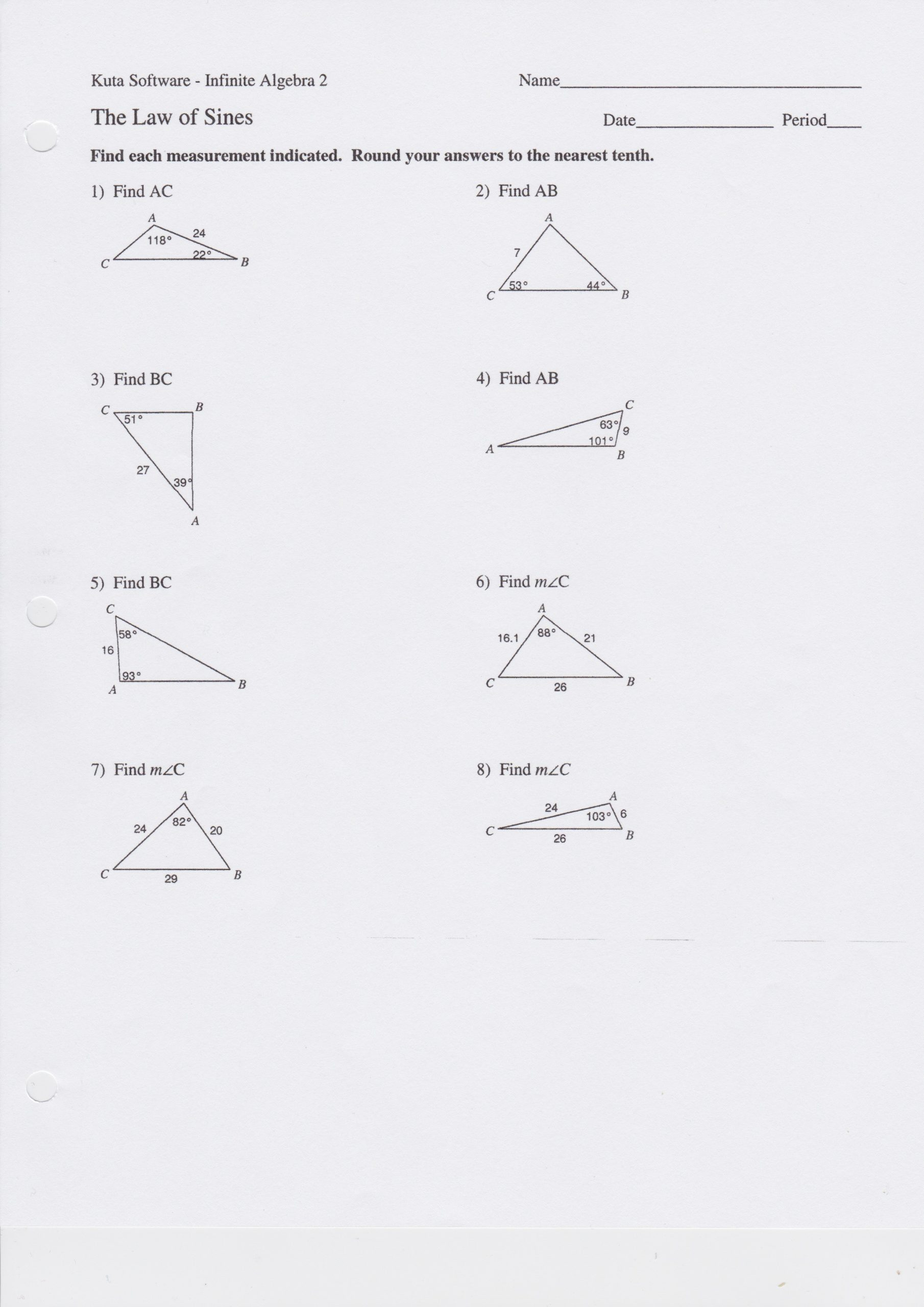 Law Of Cosines Worksheet 28 [ the Law Sines Worksheet Answers ]