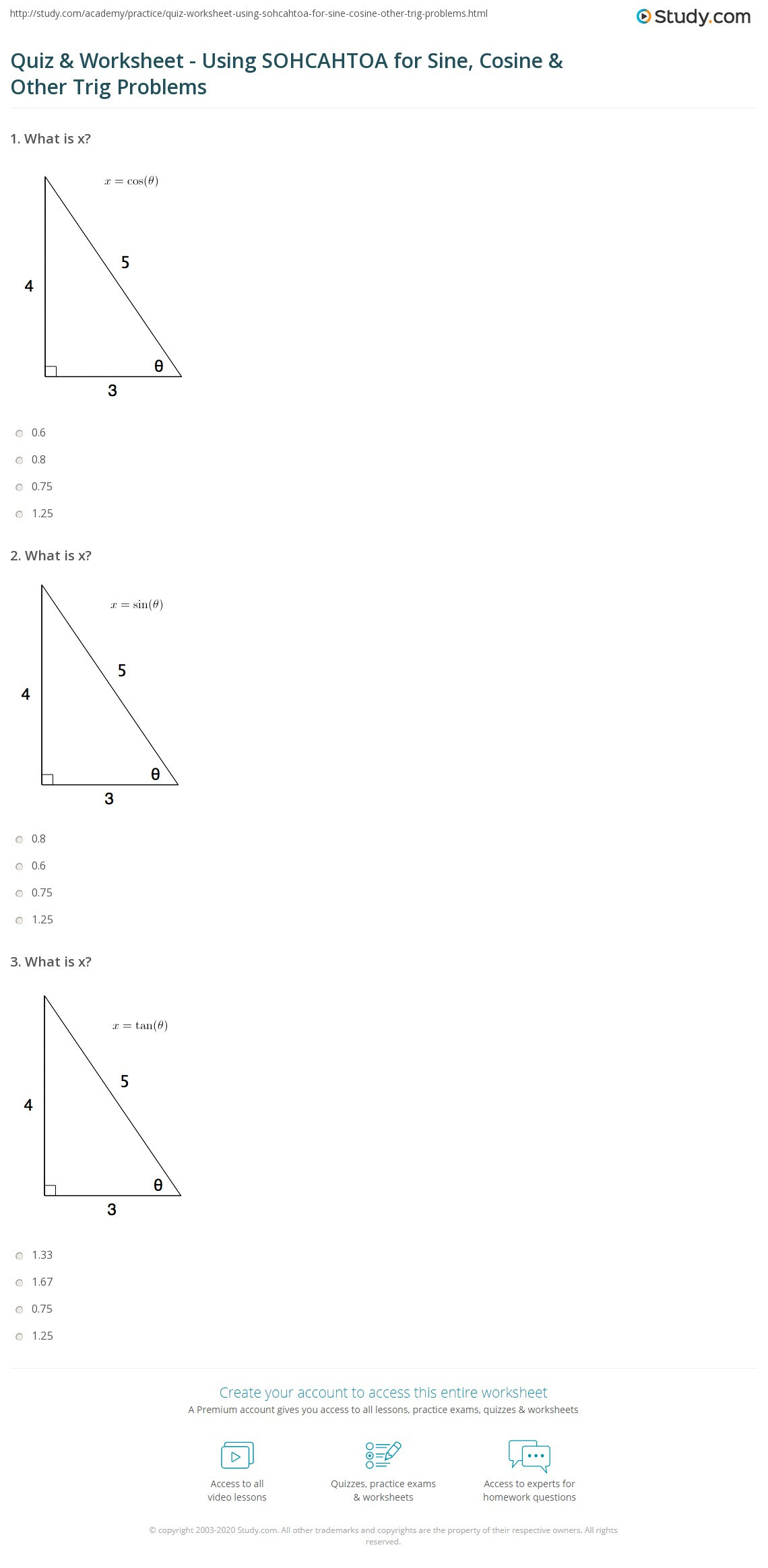 Law Of Cosines Worksheet Graphing Trig Sin and Cos Worksheets