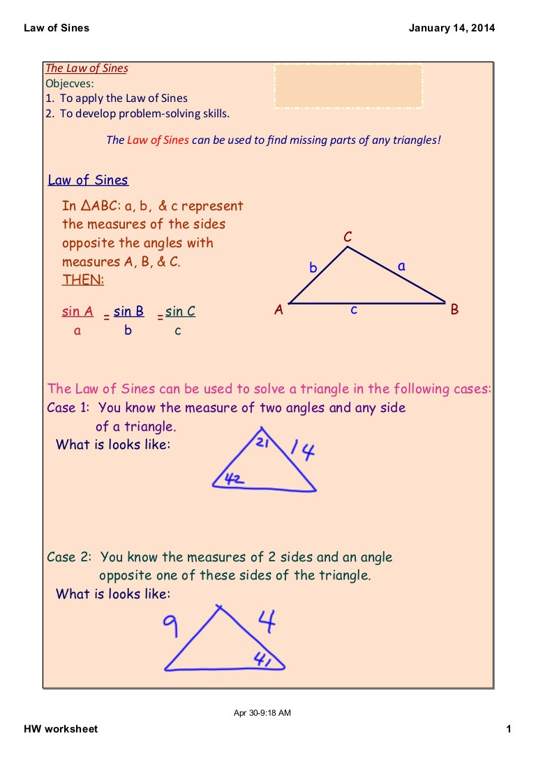 Law Of Cosines Worksheet Law Of Sines Notes