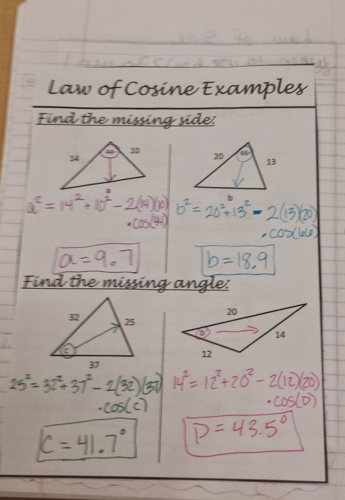Law Of Cosines Worksheet Ms Rodriguez S Precal Class 10 30 2014 Law Of Cosines