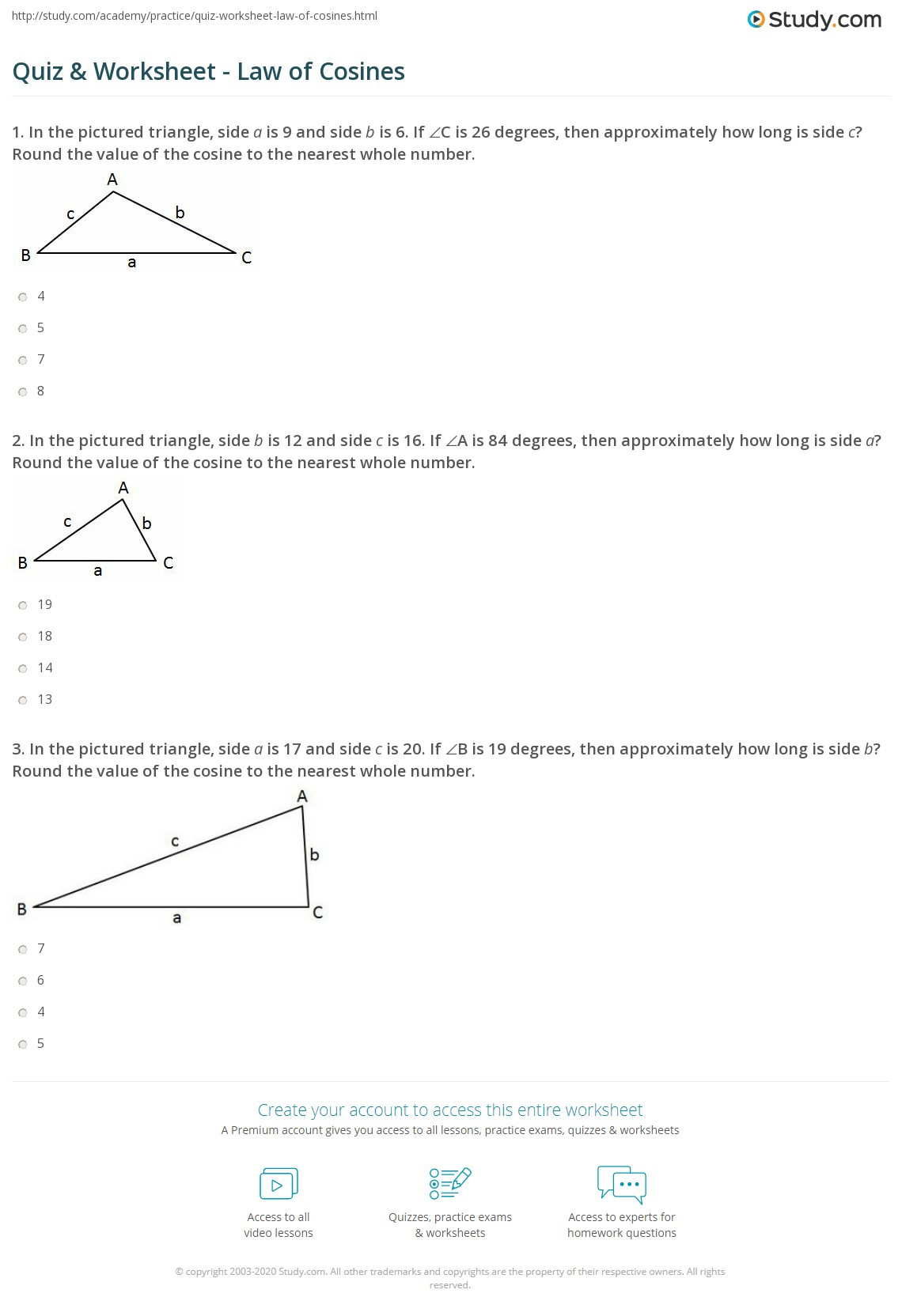 Law Of Cosines Worksheet Quiz & Worksheet Law Of Cosines