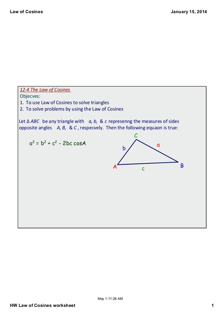 Law Of Cosines Worksheet Trig 3 Notes