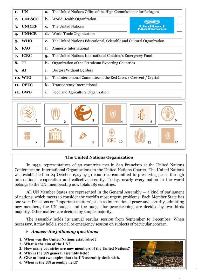 Levels Of organization Worksheet International organizations English Esl Worksheets for