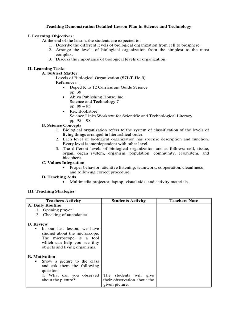 Levels Of organization Worksheet Teaching Demonstration Detailed Lesson Plan In Science and