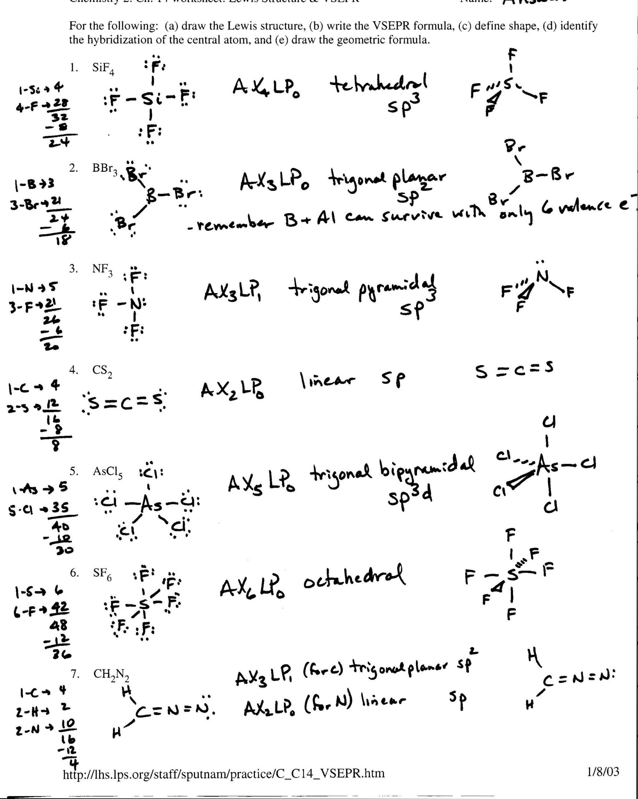 Lewis Dot Diagrams Worksheet Answers Covalent Bonding