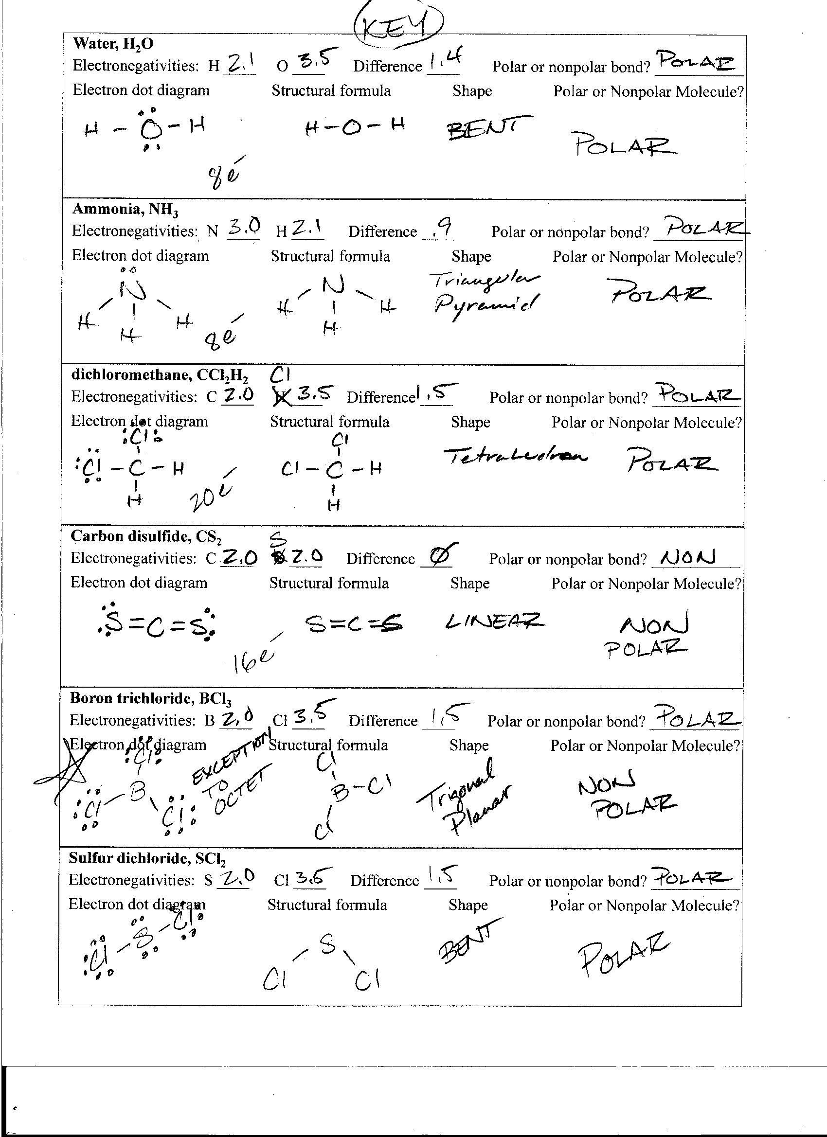 Lewis Dot Structure Practice Worksheet Polar and Nonpolar Molecules Worksheet