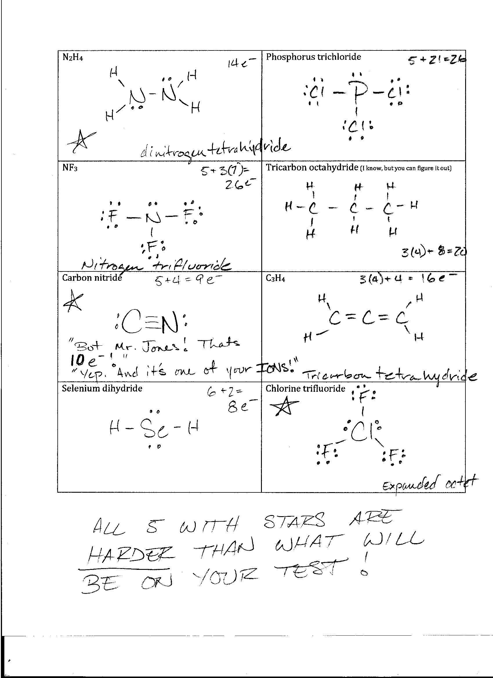 Lewis Structures Worksheet with Answers Foothill High School