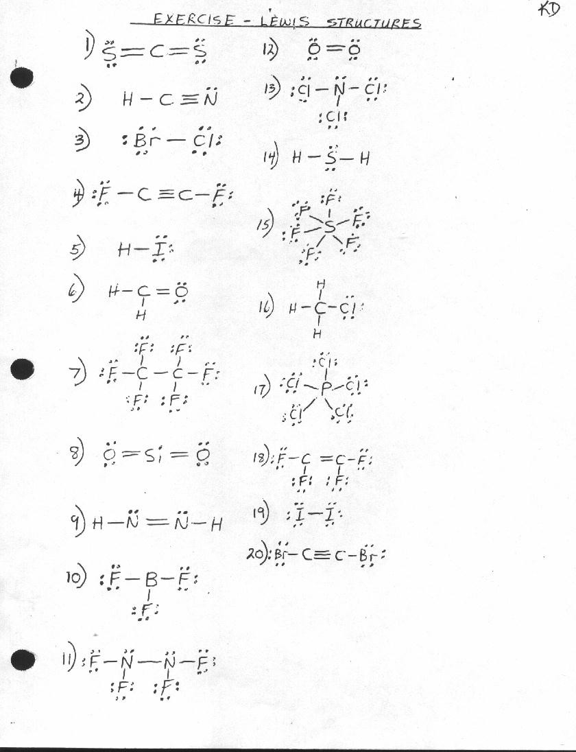 Lewis Structures Worksheet with Answers Unit 1