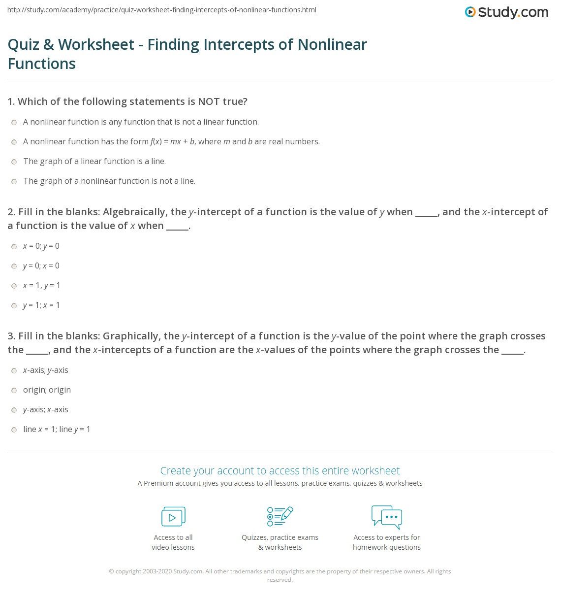 Linear and Nonlinear Functions Worksheet Quiz & Worksheet Finding Intercepts Of Nonlinear Functions