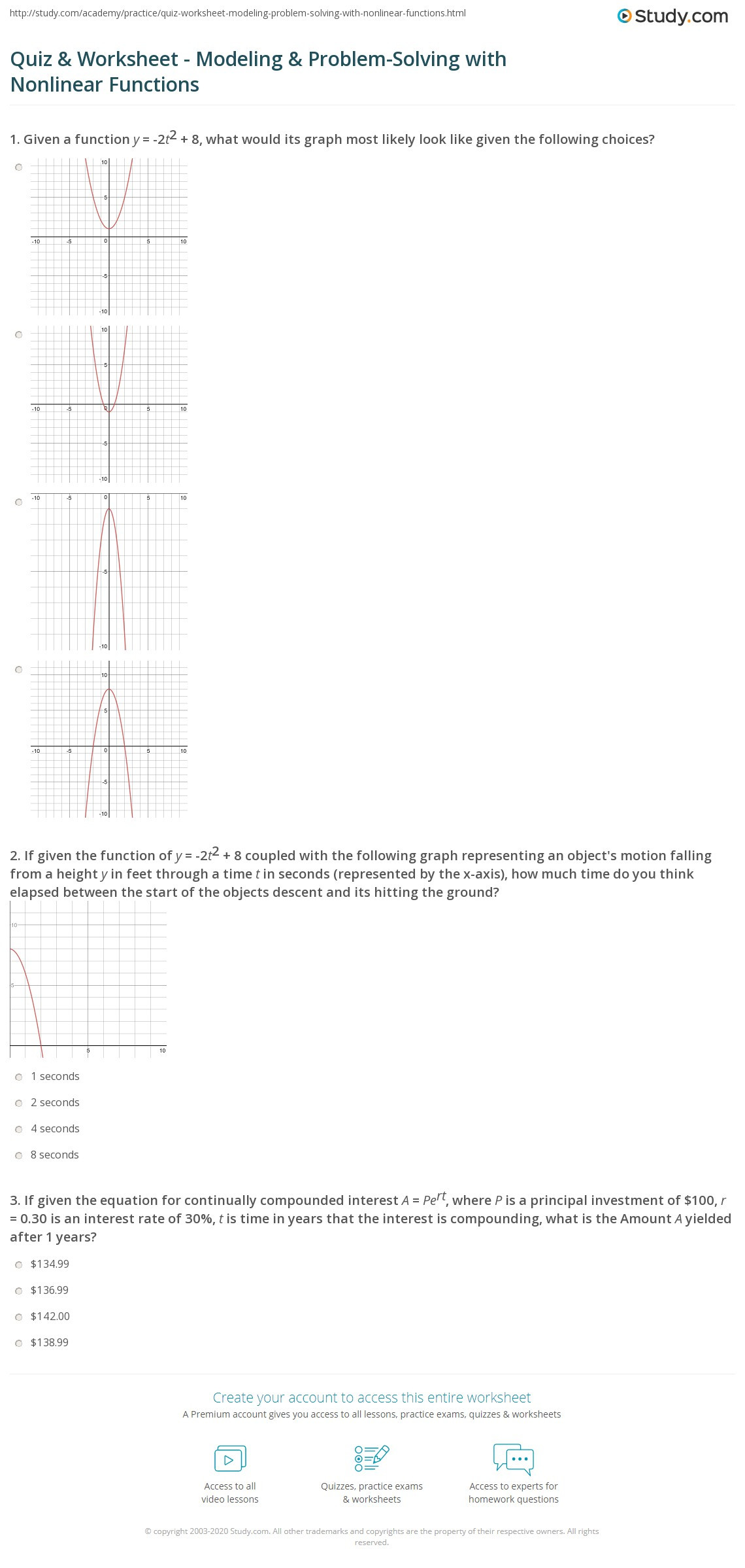 Linear and Nonlinear Functions Worksheet Quiz & Worksheet Modeling & Problem solving with Nonlinear