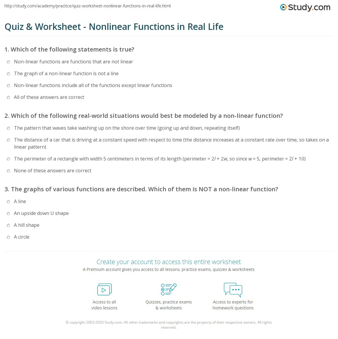 Linear and Nonlinear Functions Worksheet Quiz & Worksheet Nonlinear Functions In Real Life