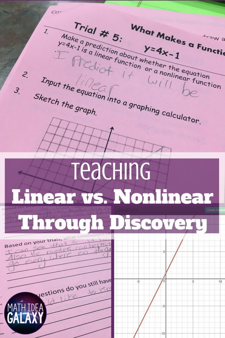 Linear and Nonlinear Functions Worksheet Teaching Linear Versus Nonlinear Functions Through Discovery