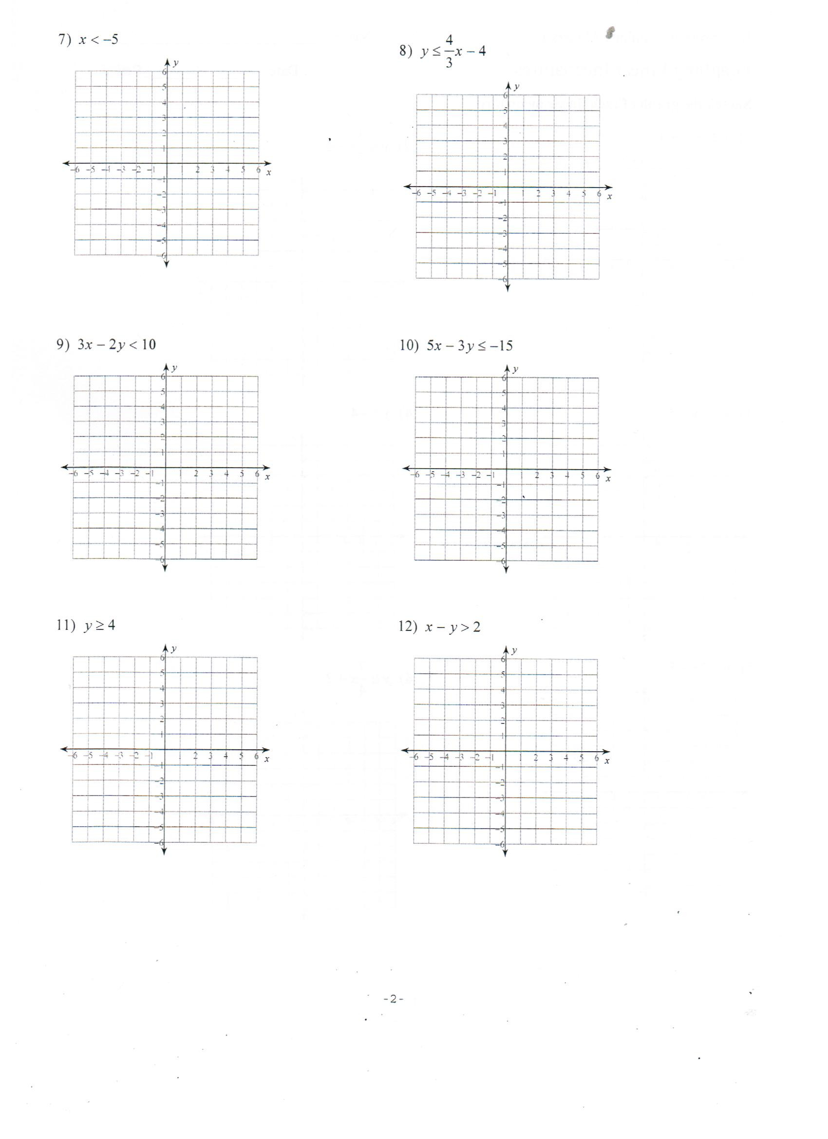 Linear Equations and Inequalities Worksheet 100 [ Graphing Inequalities Worksheets ]
