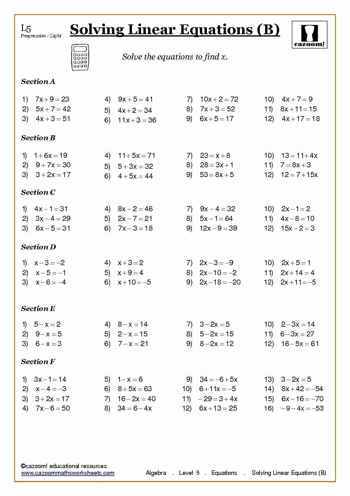 Linear Equations and Inequalities Worksheet 3 Year 7 Algebra Worksheets Word Problems Worksheet Best