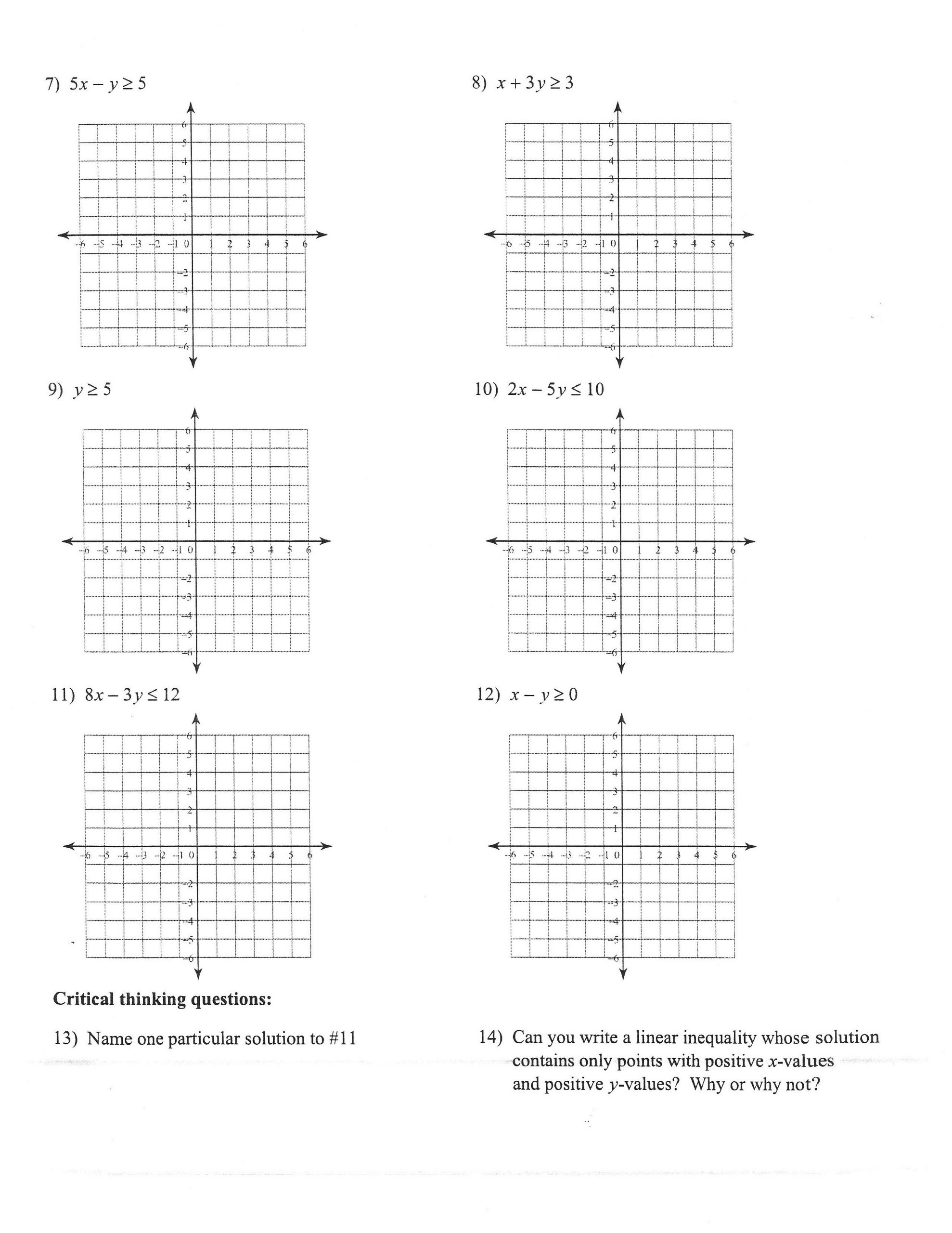 Linear Equations and Inequalities Worksheet 32 Graphing Linear Inequalities Worksheet Answers