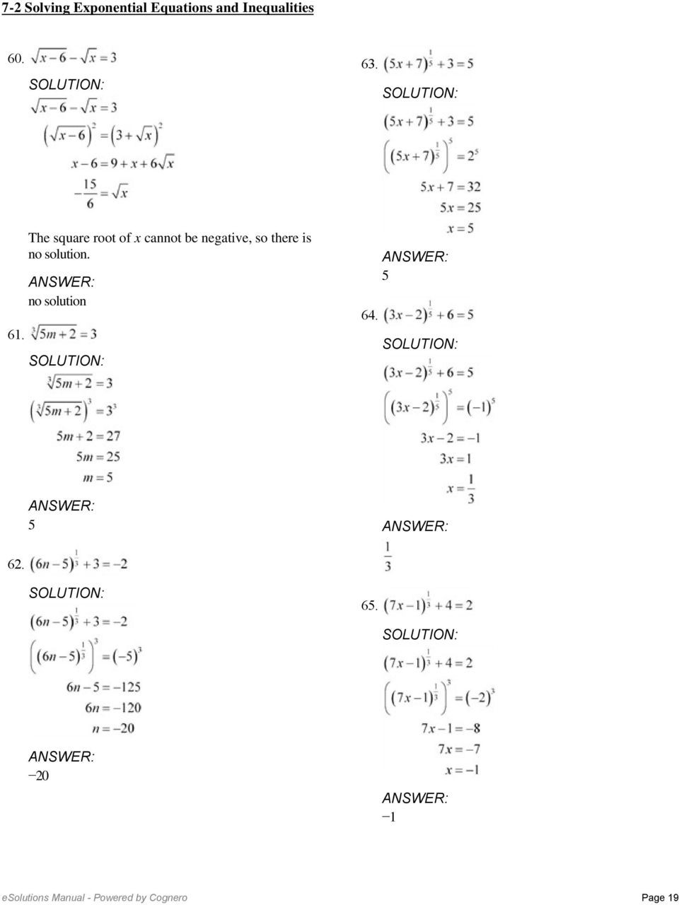 Linear Equations and Inequalities Worksheet 7 2 solving Exponential Equations and Inequalities Worksheet