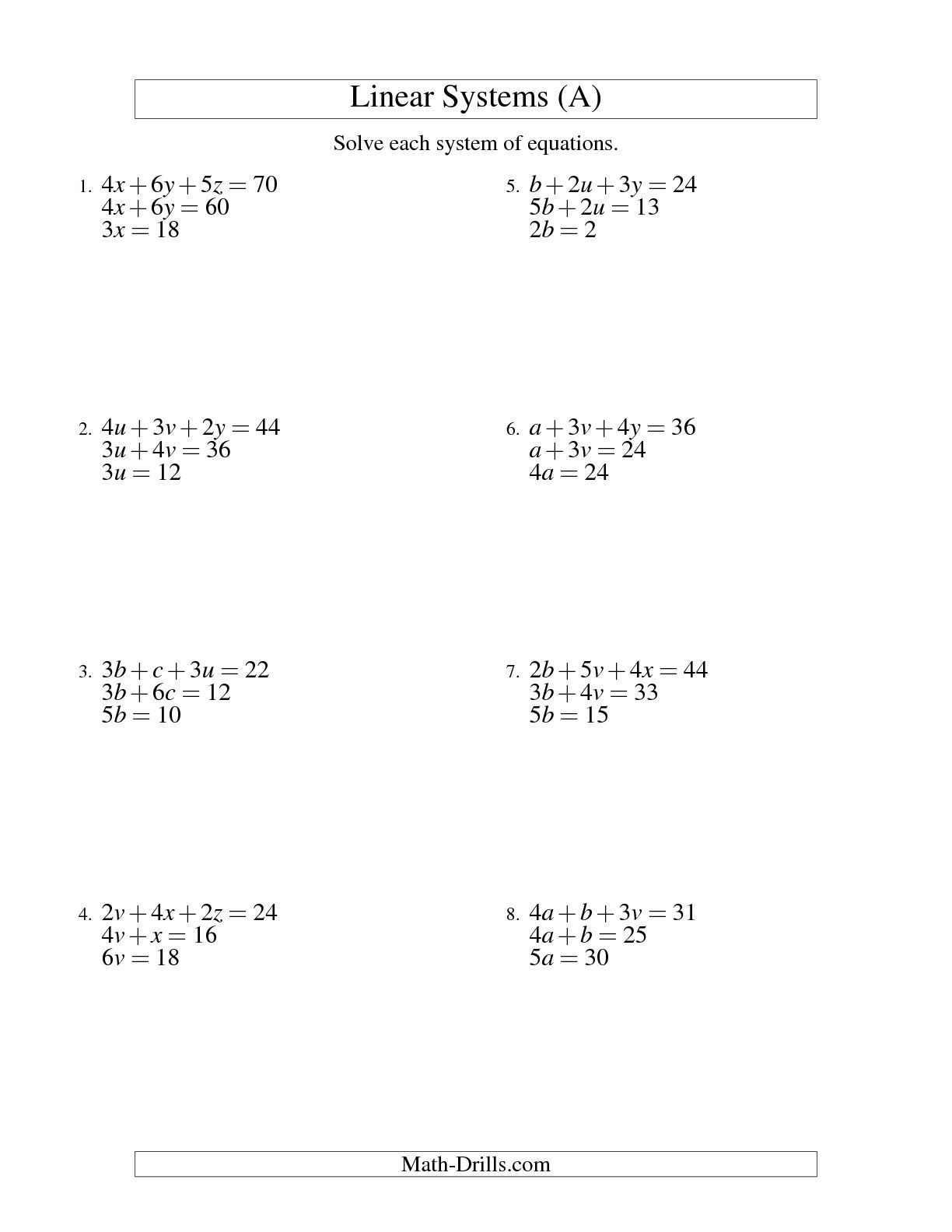 Linear Equations and Inequalities Worksheet Linear Equations Grade 10 Worksheets
