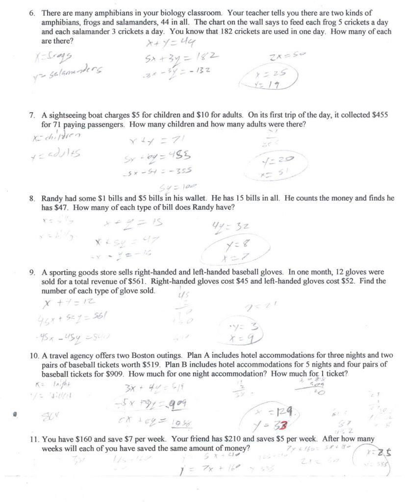 Linear Word Problems Worksheet 30 Systems Linear Equations Word Problems Worksheet