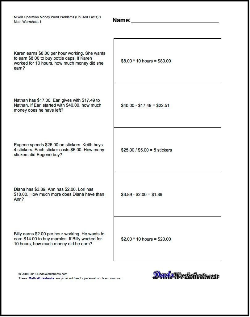 Linear Word Problems Worksheet Money Word Problems Mixed Operation with Extra Facts Problem