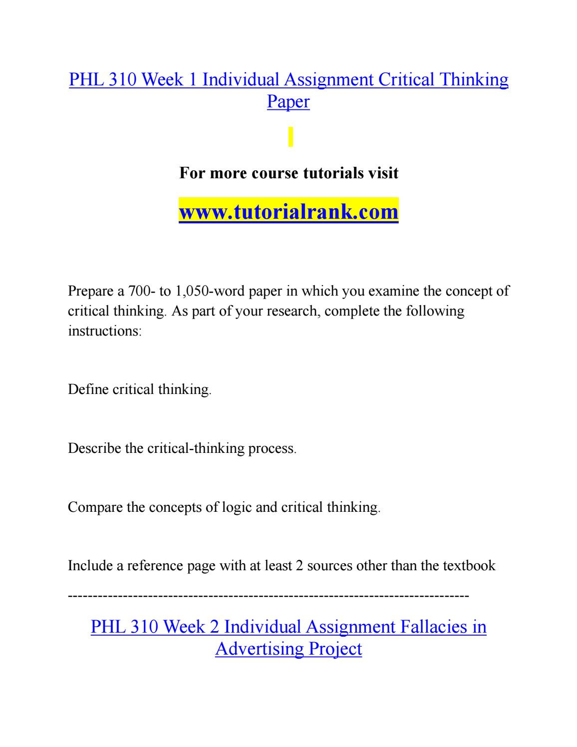 Logical Fallacies Worksheet with Answers Phl 310 Teaching Effectively Tutorialrank by