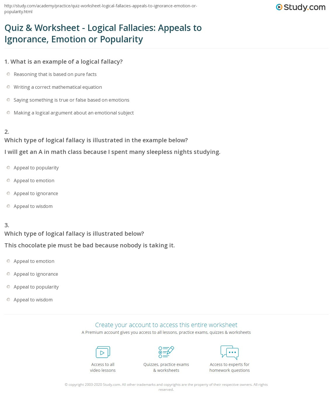 Logical Fallacies Worksheet with Answers Quiz & Worksheet Logical Fallacies Appeals to Ignorance