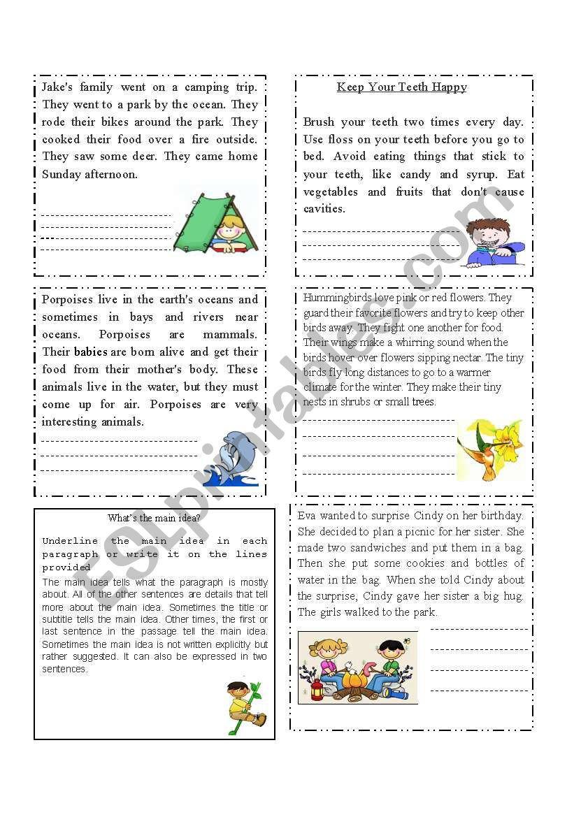Main Idea Worksheet 4th Grade Extracting the Main Idea Esl Worksheet by Cacucacu