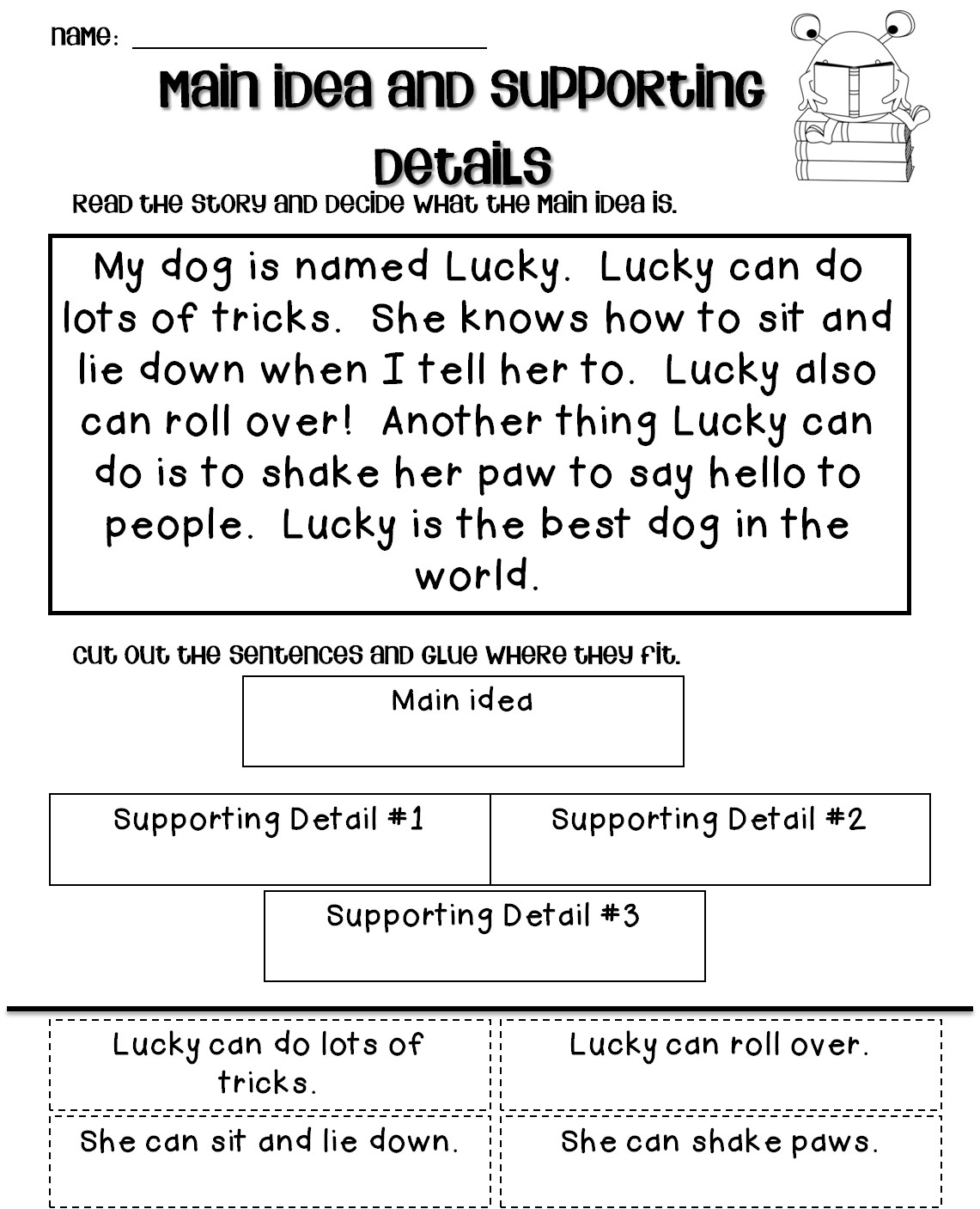 Main Idea Worksheet 4th Grade Fraction Questions Paycheck Worksheets for Students Main