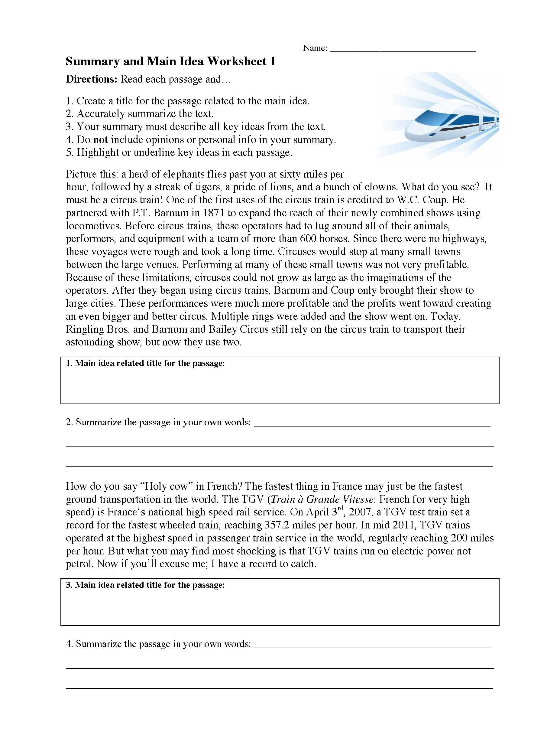 Main Idea Worksheet 4th Grade Main Idea Worksheets 3rd Grade Print