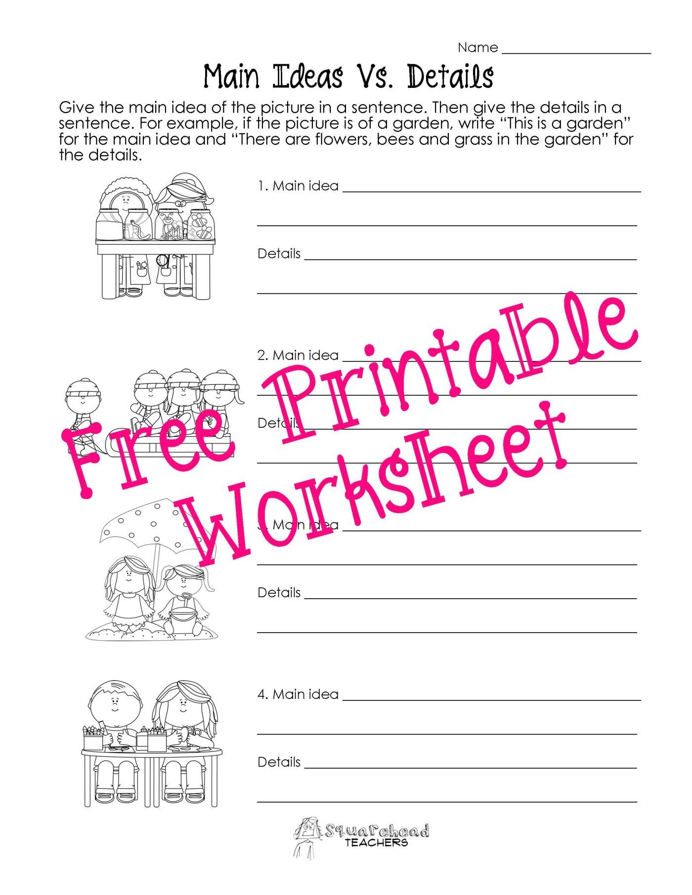 Main Idea Worksheet 4th Grade Main Idea Worksheets 5th Grade for Print Math Worksheet On