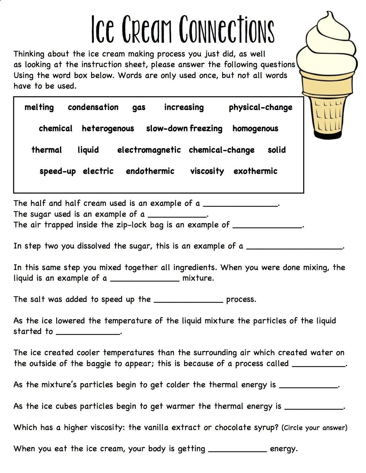 Matter and Energy Worksheet Baggie Ice Cream Worksheet Connecting Ideas to Her solid