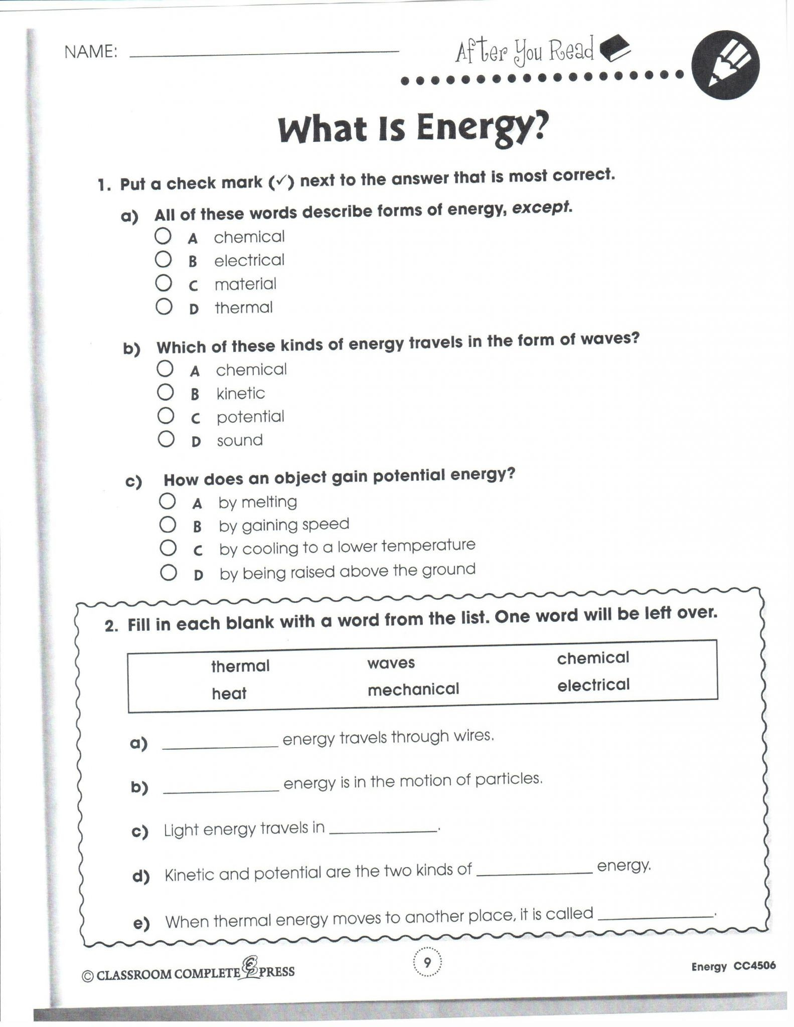 Matter and Energy Worksheet Science Worksheets for Grade Printable with Answers
