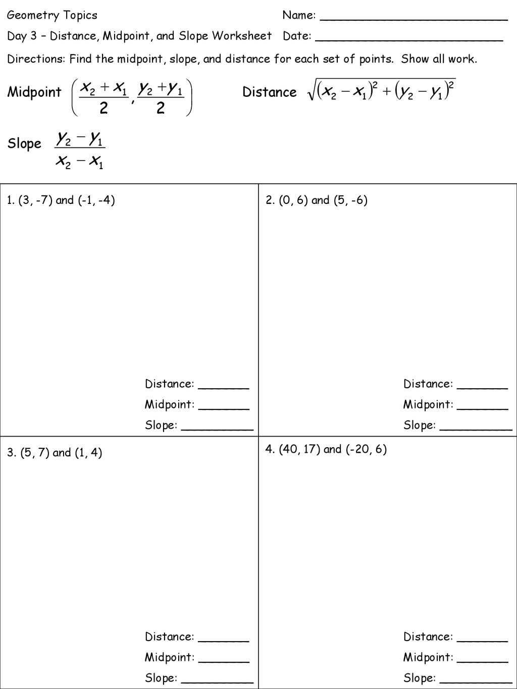 Midpoint and Distance Worksheet Geometry topics Name Ppt