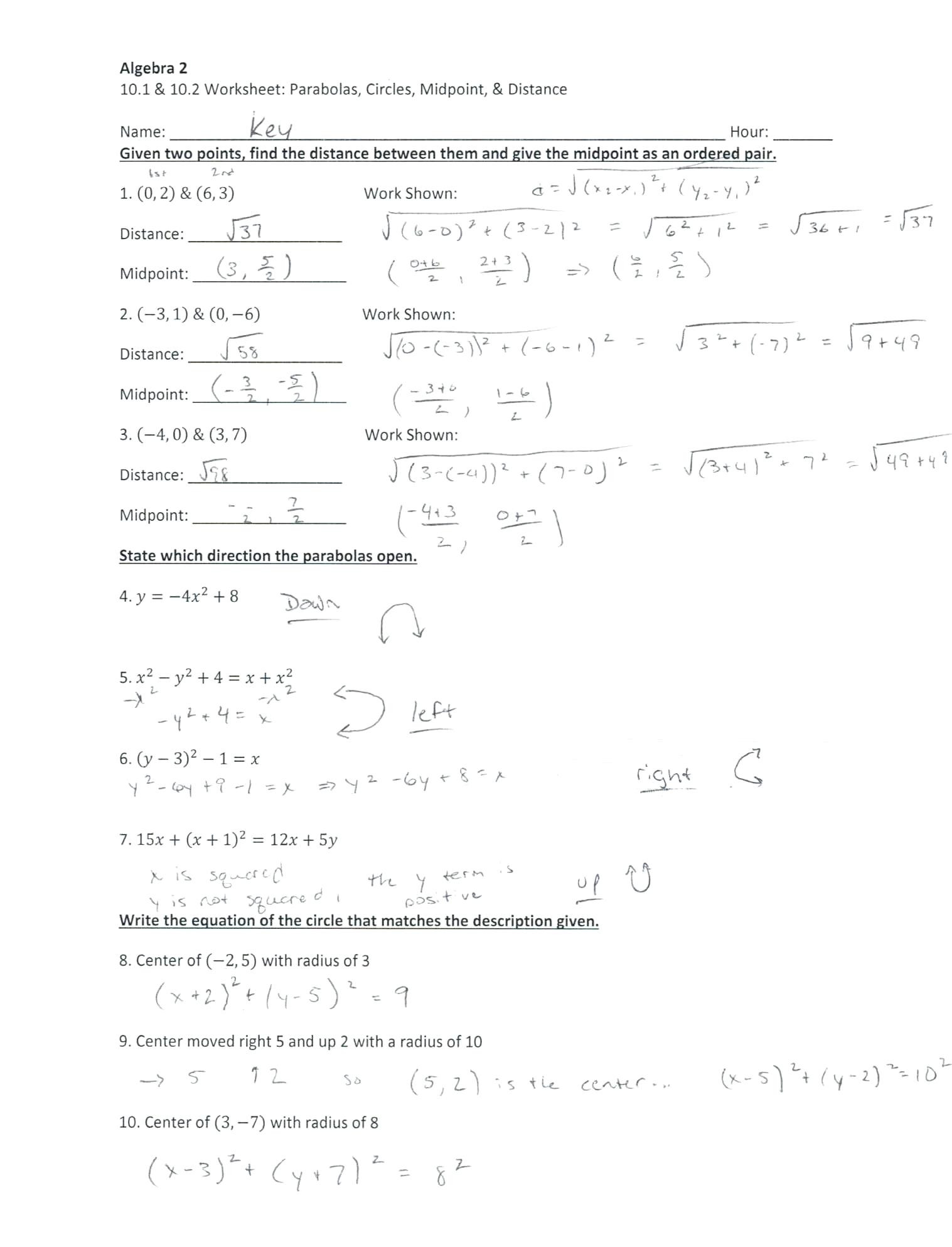 Midpoint and Distance Worksheet Midpoint and Distance Worksheet Answer Key Nidecmege