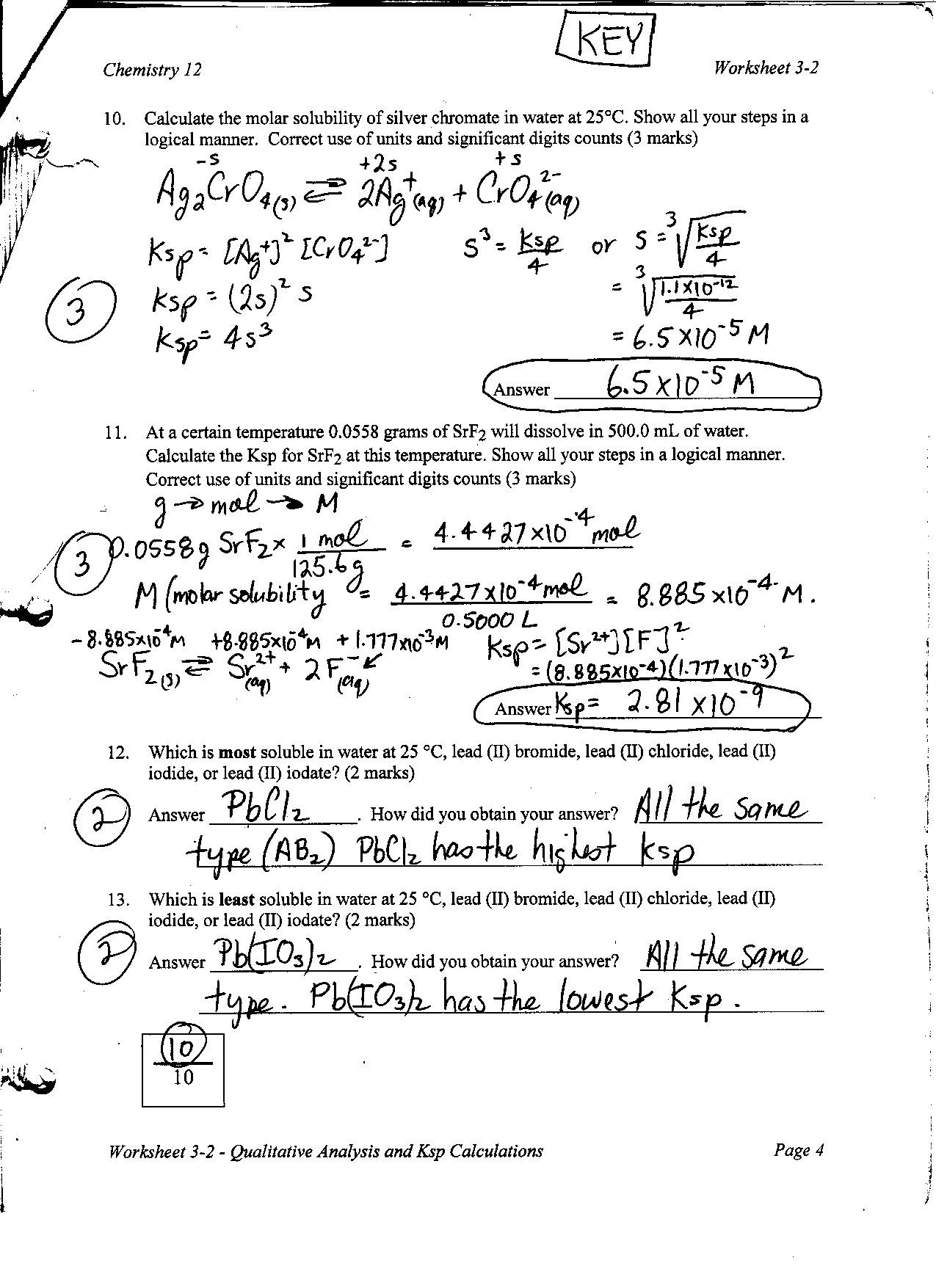 Molarity Practice Worksheet Answer Chemistry Mr Nguyen Website solubility Calculations